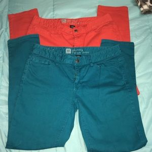 Mossimo Jeans Bundle Blood Orange and Teal Sz 8